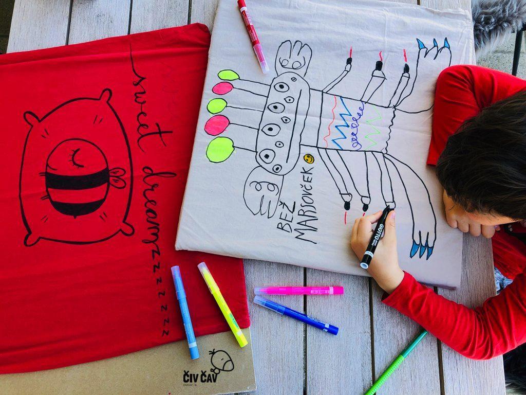Risanje motivov s flomastri za tekstil - civcav.si