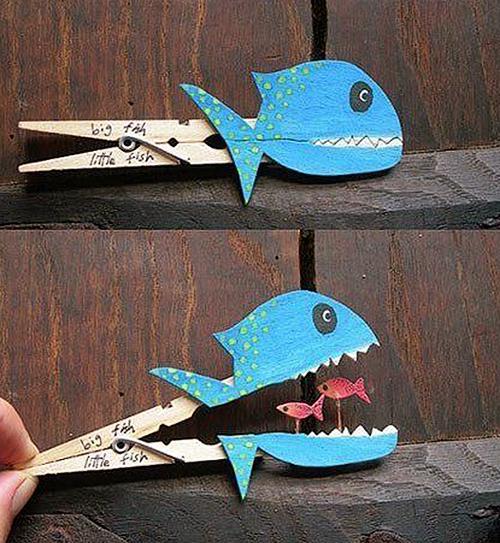 Kreativne ideje - morske živali - ribje ščipalke2 - civcav.si