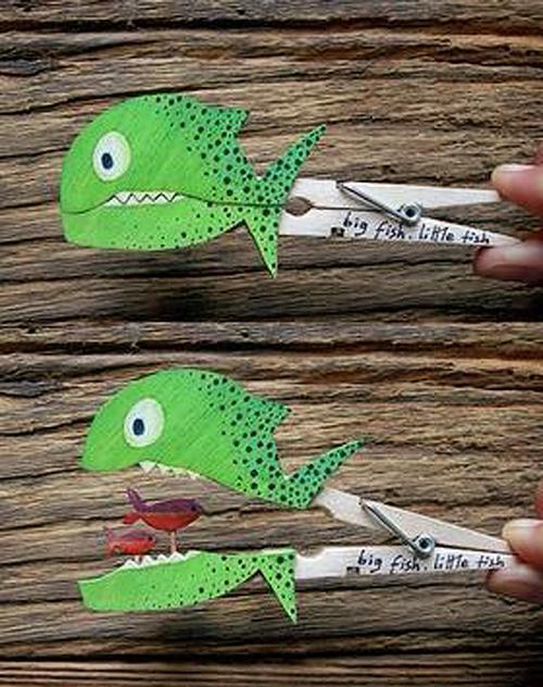 Kreativne ideje - morske živali - ribje ščipalke - civcav.si