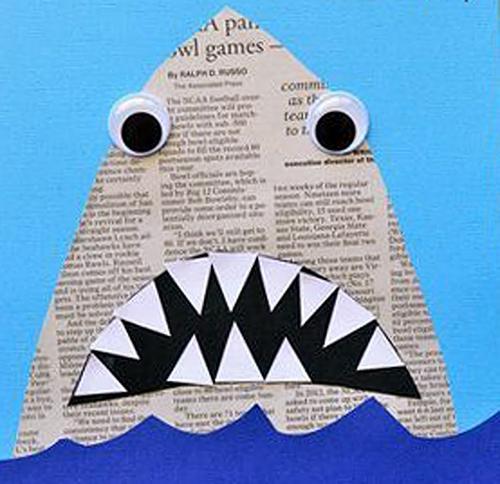 Kreativne ideje - morski pes iz časopisa - civcav.si