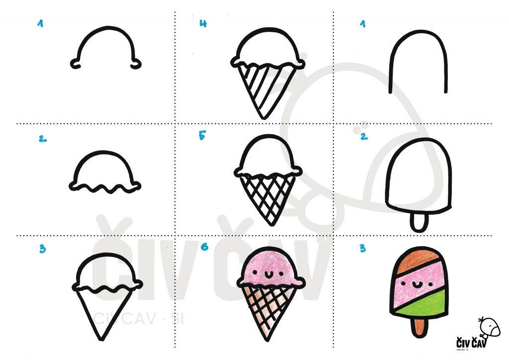Kako narisati korak za korakom sladoled in sladoledno lučko - civcav.si