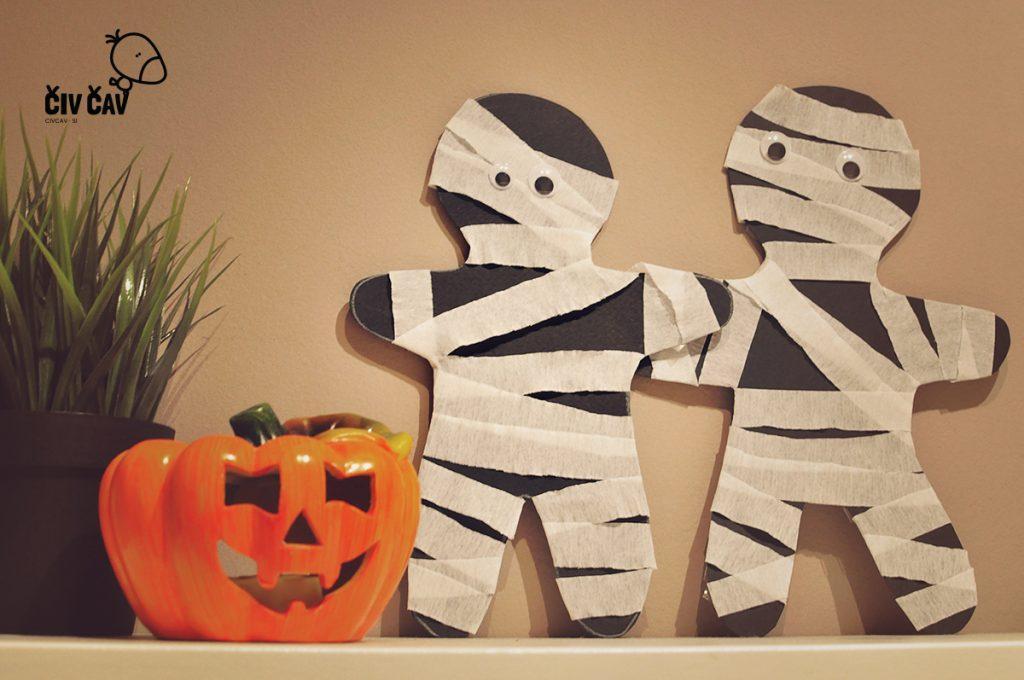 Mumija iz krep papirja - noč čarovnic - civcav.si