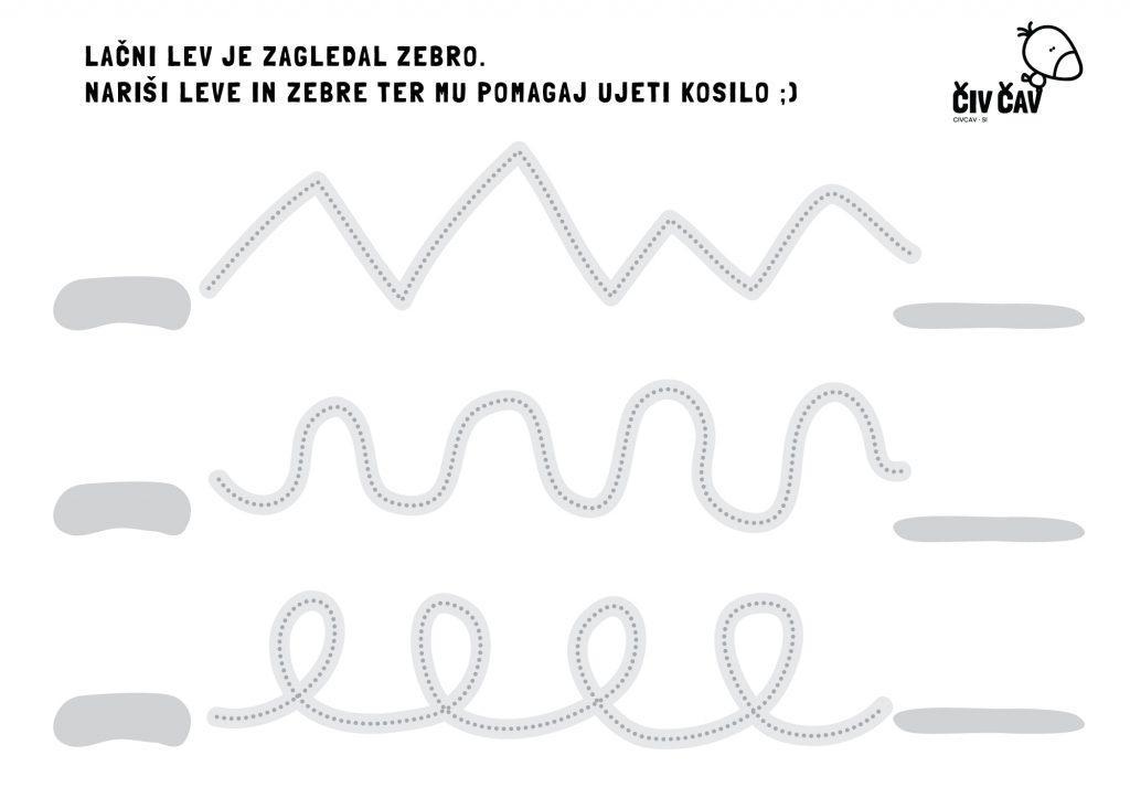 Sledi črti in nariši leve in zebre - civcav.si