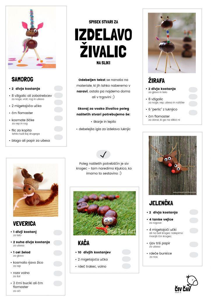 Spisek sestavin za izdelavo živalic iz kostanja - 1 - civcav.si