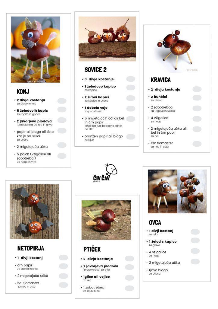 Spisek sestavin za izdelavo živalic iz kostanja - 2 - civcav.si