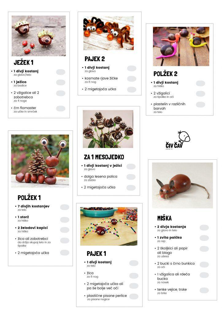 Spisek sestavin za izdelavo živalic iz kostanja - 3 - civcav.si