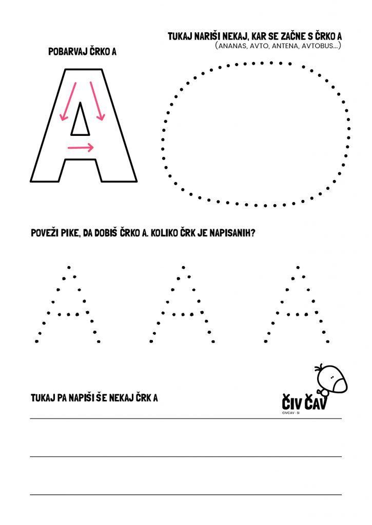 Naučimo se pisati črko A