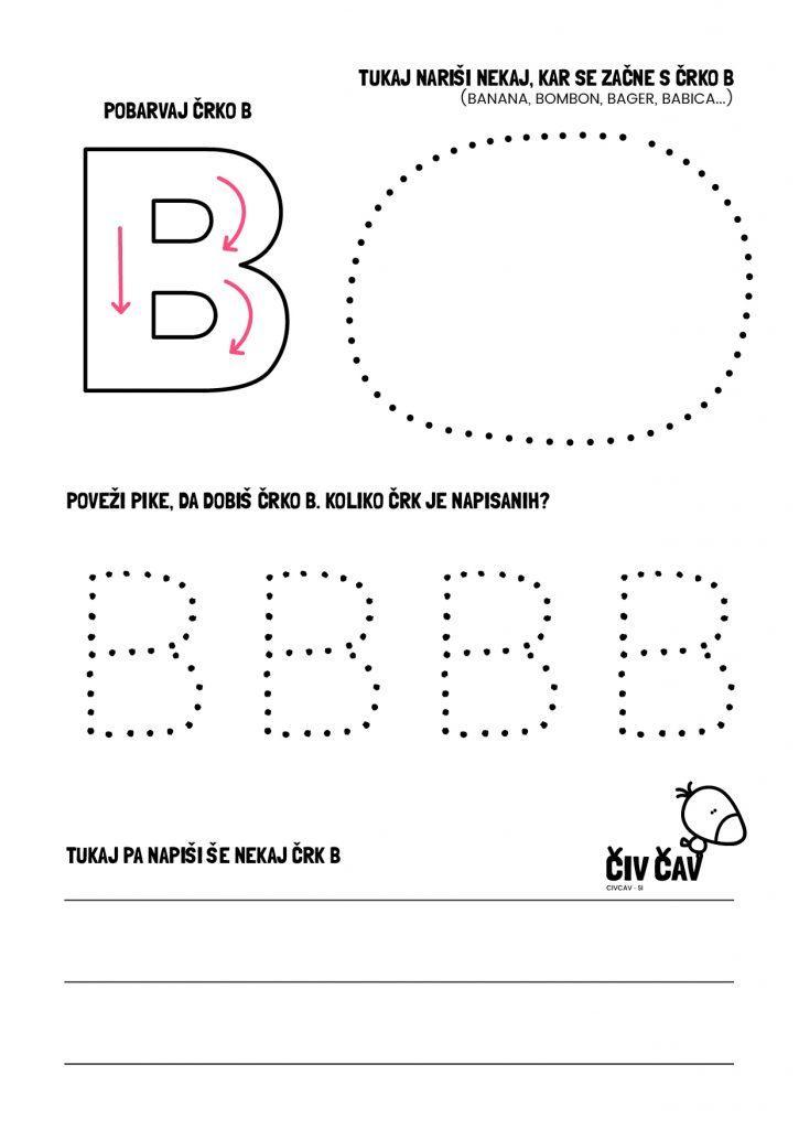 Naučimo se pisati črko B
