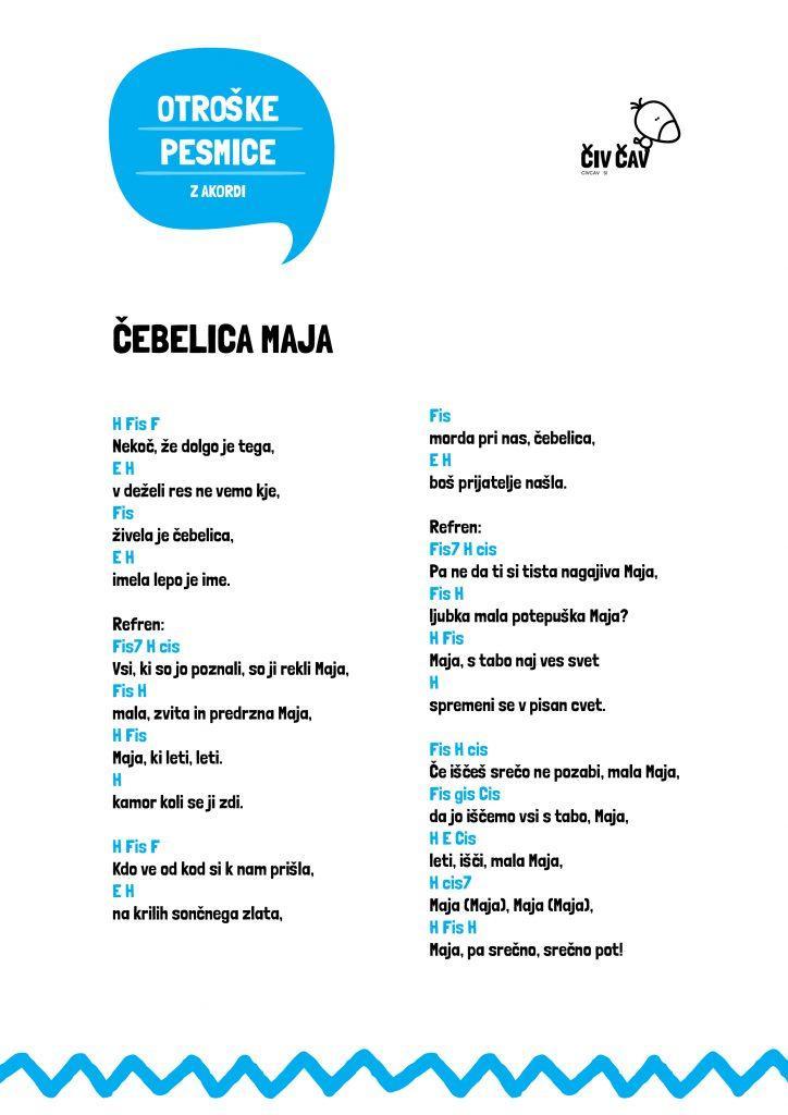 Otroške pesmice - Čebelica Maja z akordi - civcav.si