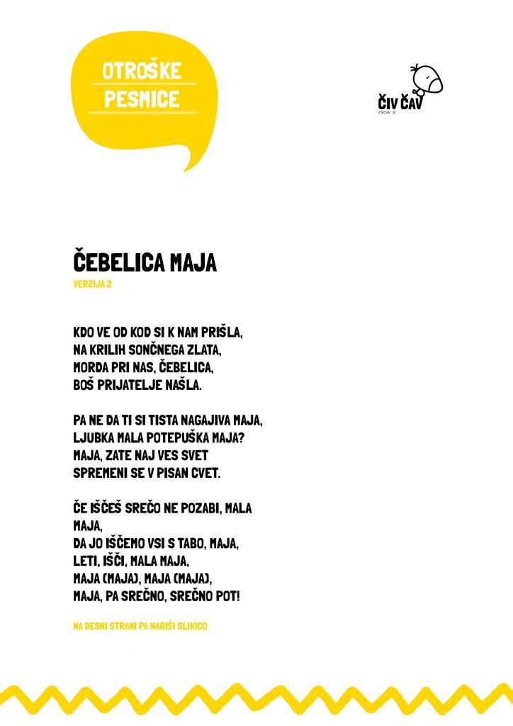 Otroške pesmice - Čebelica Maja - verzija 2 - civcav.si