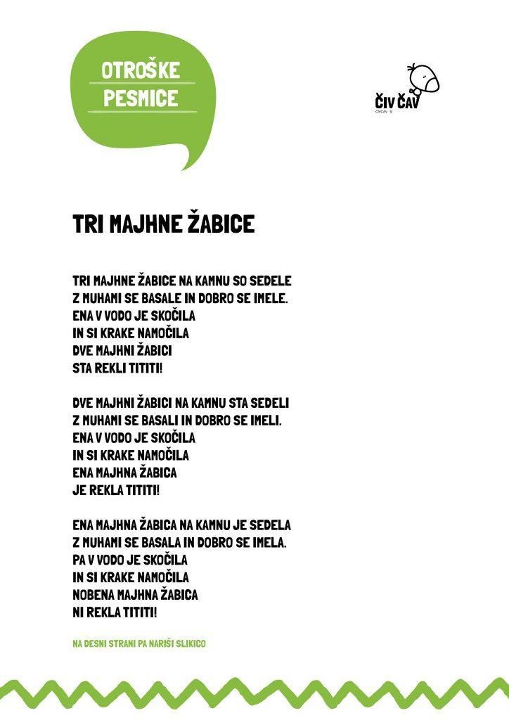 Otroške pesmice - Tri majhne žabice - civcav.si
